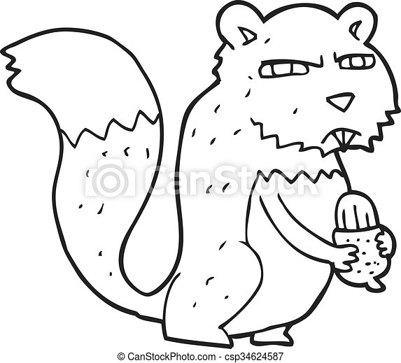 black and white cartoon angry squirrel with nut - csp34624587