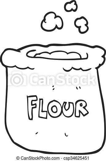 freehand drawn black and white cartoon bag of flour https www canstockphoto com black and white cartoon bag of flour 34625451 html