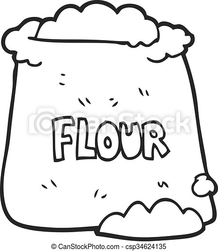 freehand drawn black and white cartoon bag of flour https www canstockphoto com black and white cartoon bag of flour 34624135 html