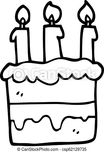 Black And White Cartoon Birthday Cake Canstock
