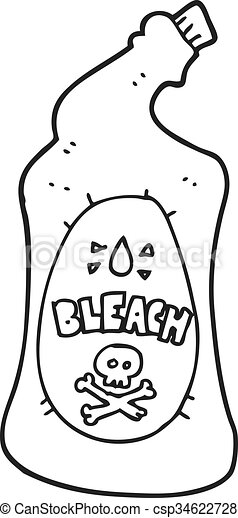 Freehand drawn black and white cartoon bleach bottle for Can you bleach white shirts with logos