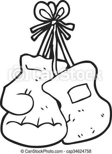 freehand drawn black and white cartoon boxing gloves clipart vector rh canstockphoto com