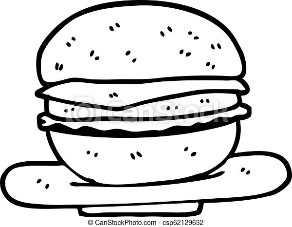 black and white cartoon burger https www canstockphoto com black and white cartoon burger 62129632 html