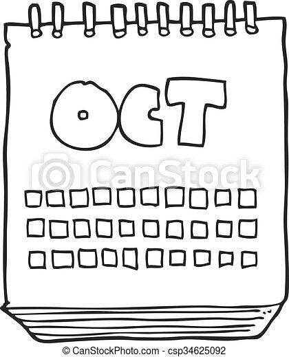 black and white cartoon calendar showing month of october - csp34625092