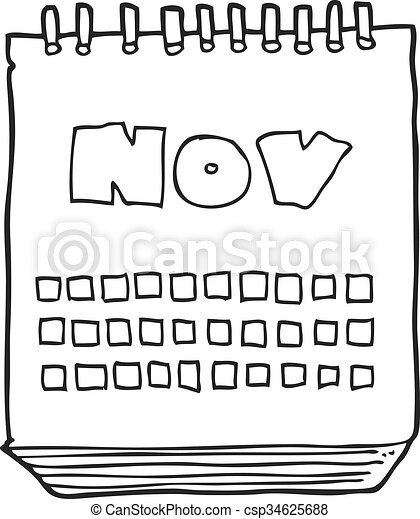 black and white cartoon calendar showing month of november - csp34625688
