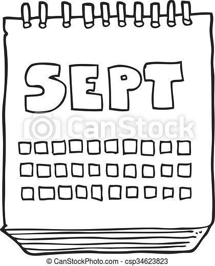 black and white cartoon calendar showing month of September - csp34623823