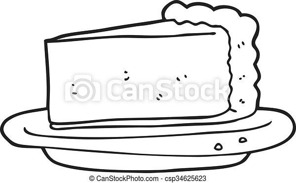 black and white cartoon cheesecake - csp34625623
