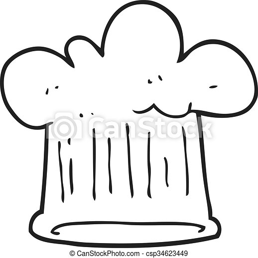 black and white cartoon chef hat - csp34623449