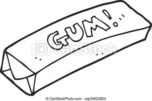 Gum clipart black and white images for Gum coloring pages