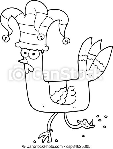 Black And White Cartoon Chicken Running In Funny Hat