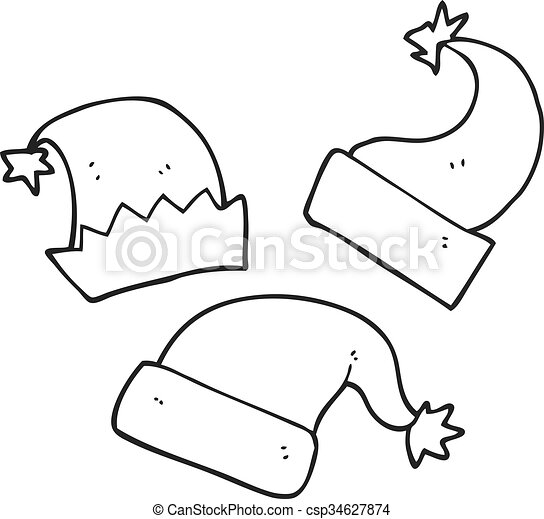 Christmas Images Cartoon Black And White.Black And White Cartoon Christmas Hats