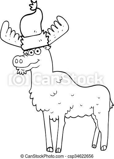 Freehand Drawn Black And White Cartoon Christmas Moose