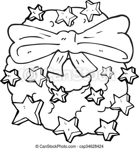 Freehand Drawn Black And White Cartoon Christmas Wreath