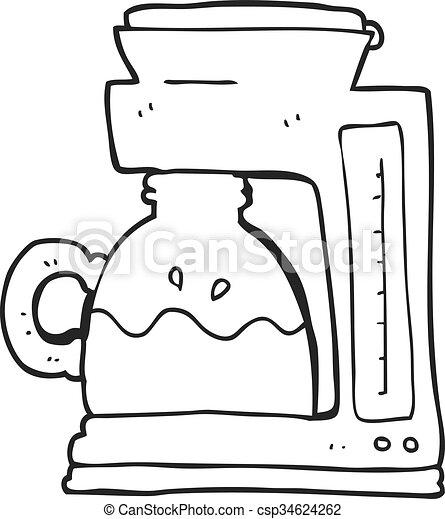 Black And White Cartoon Coffee Filter Machine