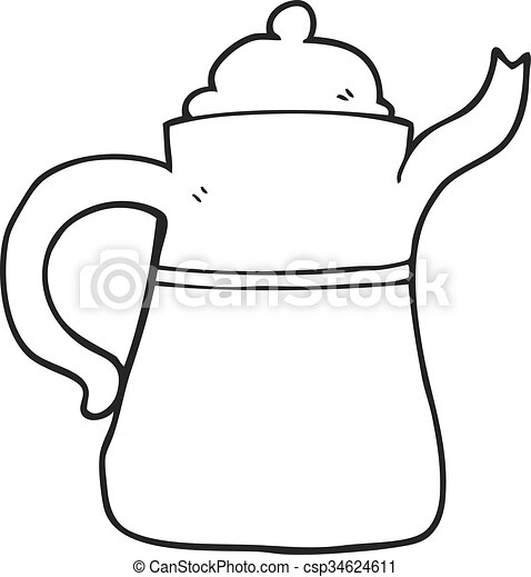 freehand drawn black and white cartoon coffee pot vector clip art rh canstockphoto com vintage coffee pot clipart coffee pot clip art images