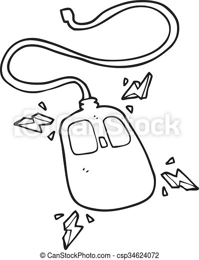Freehand Drawn Black And White Cartoon Computer Mouse