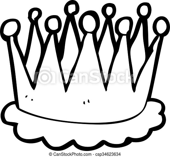 freehand drawn black and white cartoon crown rh canstockphoto com crown vector clipart black and white free clipart black and white crown