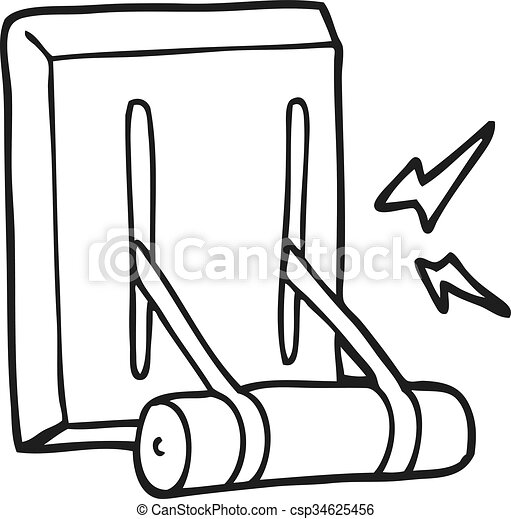 freehand drawn black and white cartoon electrical switch clipart rh canstockphoto com electric clipart electrical clip art free