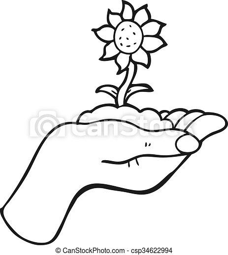 Freehand drawn black and white cartoon flower growing in palm of hand black and white cartoon flower growing in palm of hand csp34622994 mightylinksfo