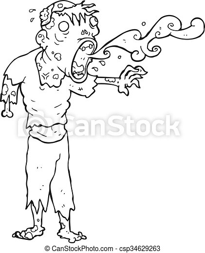 Freehand Drawn Black And White Cartoon Gross Zombie