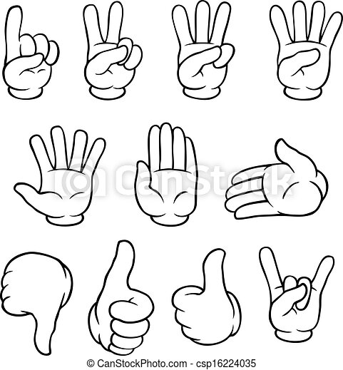 Black and white cartoon hands set csp16224035