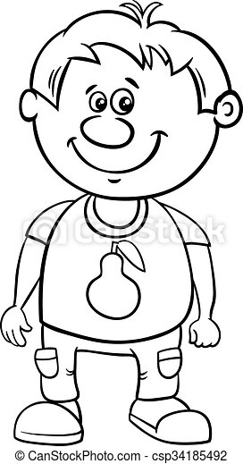 Black And White Cartoon Illustration Of Funny Preschool Or School Age Boy Coloring Page