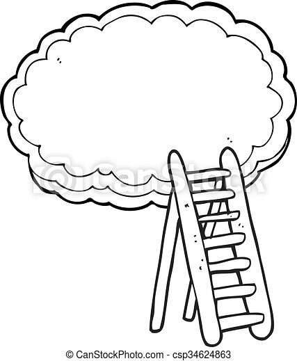 freehand drawn black and white cartoon ladder to heaven rh canstockphoto com clipart heavenly clipart heaven grocery store