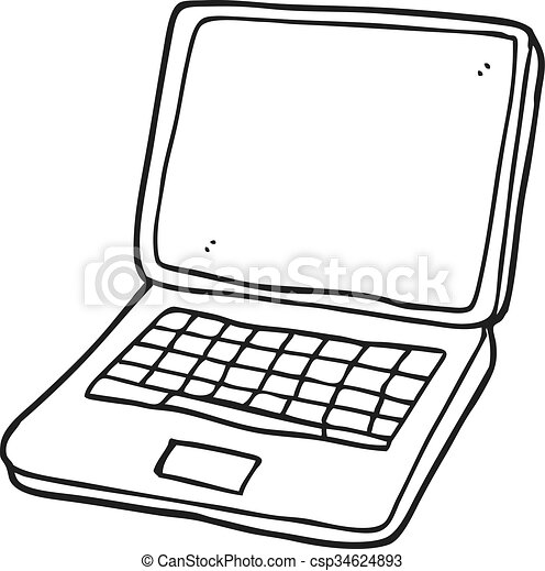 Freehand Drawn Black And White Cartoon Laptop Computer With Heart