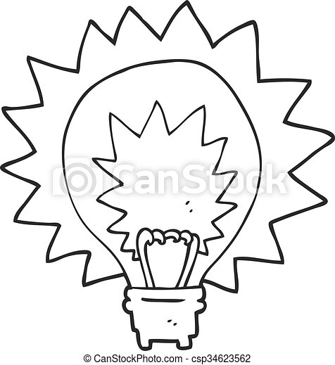Freehand Drawn Black And White Cartoon Light Bulb Shining