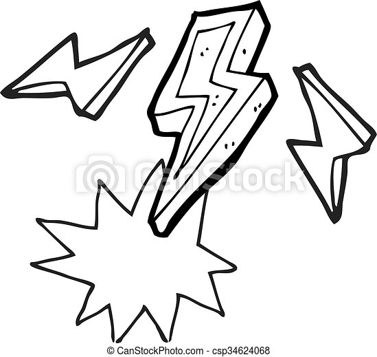 freehand drawn black and white cartoon lightning bolt doodle clip rh canstockphoto com lighting clipart black and white