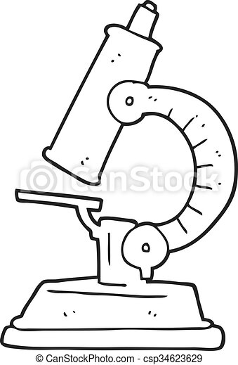 freehand drawn black and white cartoon microscope https www canstockphoto com black and white cartoon microscope 34623629 html