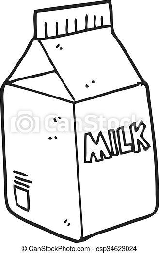 black and white cartoon milk carton - csp34623024