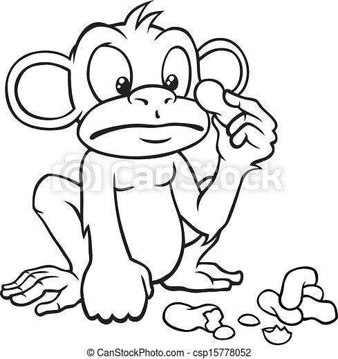 Black And White Cartoon Monkey With Peanuts