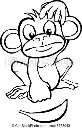 Black And White Cartoon Monkey With Banana