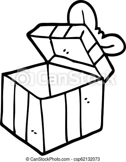 Black and white cartoon open gift box.