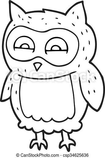 Freehand Drawn Black And White Cartoon Owl