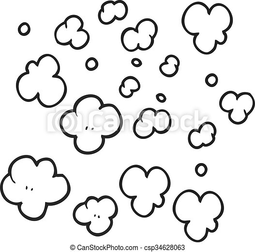 black and white cartoon puff of smoke symbol - csp34628063