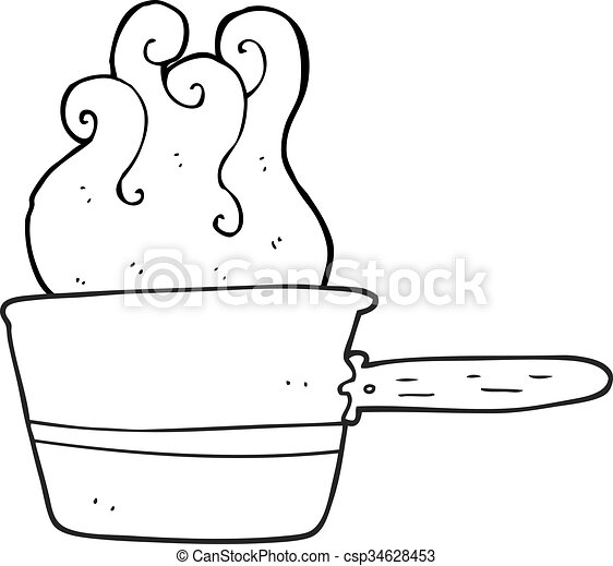 Freehand Drawn Black And White Cartoon Saucepan Cooking