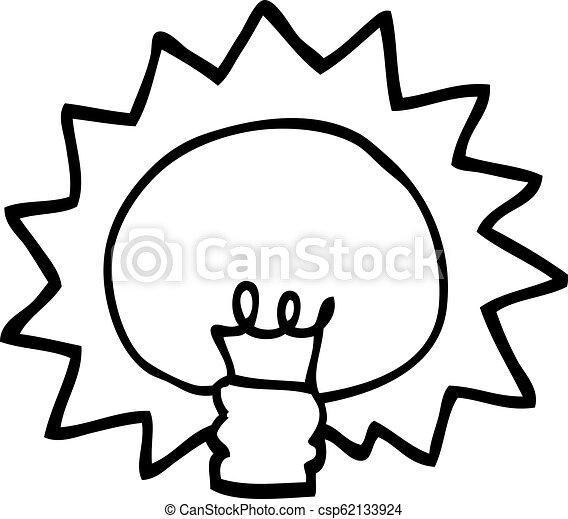 Black And White Cartoon Shining Light Bulb