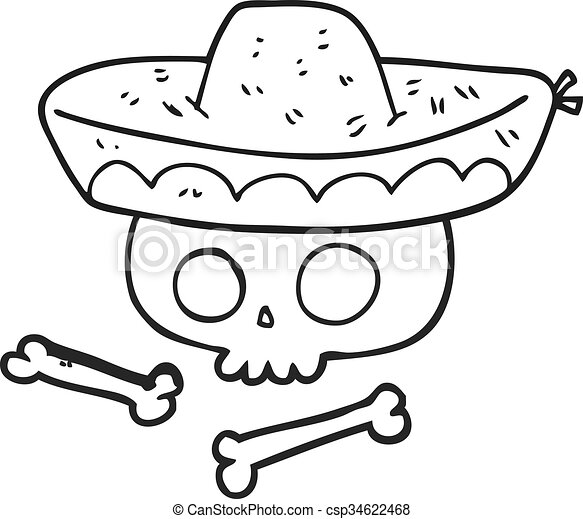 Freehand Drawn Black And White Cartoon Skull In Mexican Hat