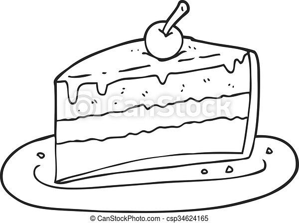 freehand drawn black and white cartoon slice of cake clip art