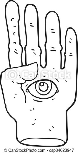 black and white cartoon spooky hand with eyeball - csp34623947