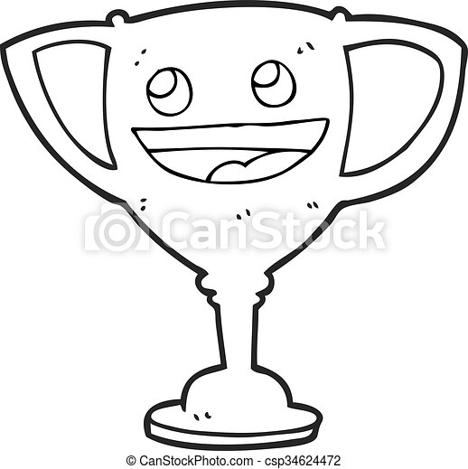 Black And White Cartoon Sports Trophy