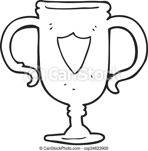 Freehand Drawn Black And White Cartoon Sports Trophy