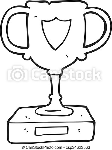 Freehand Drawn Black And White Cartoon Trophy
