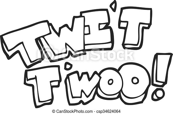 freehand drawn black and white cartoon twit two owl call text rh canstockphoto ie