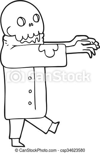 Freehand Drawn Black And White Cartoon Zombie