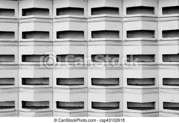 Black and white cement block wall - csp43102618