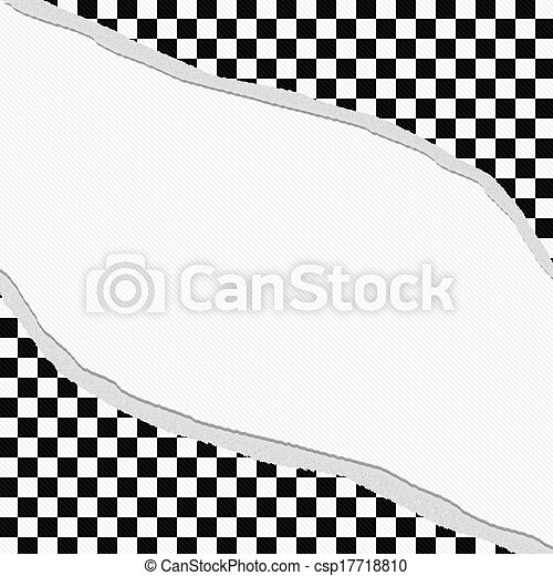 Black And White Checkered Frame With Torn Background With Center For