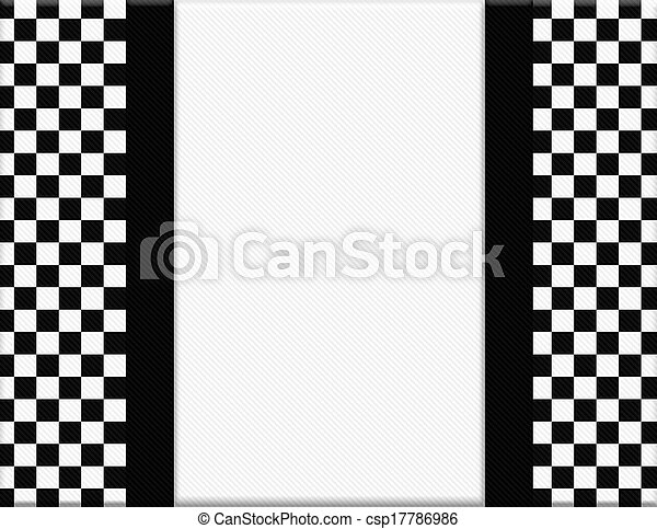 Black And White Checkered Frame With Ribbon Background With Center